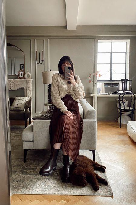 Pleated skirt, polo sweater, Chelsea boots, fall outfit   #LTKsalealert #LTKbump #LTKshoecrush
