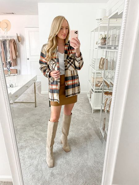 Plaid shocker with a faux leather mini skirt in the Nordstrom Anniversary Sale