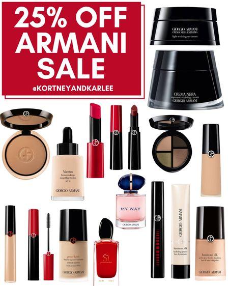 25% off Armani Sale!  Armani beauty sale | Armani beauty sale | Armani makeup sale | Armani foundation sale | Armani lipstick sale | Kortney and Karlee | LTK Summer Sale | #kortneyandkarlee #LTKSummerSale #LTKDay #LTKDay21 #LTKunder50 #LTKunder100 #LTKsalealert #LTKhome #LTKstyletip #LTKfit #LTKSeasonal #LTKswim #LTKbeauty #LTKtravel @liketoknow.it #liketkit http://liketk.it/3huBN