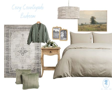 Cozy countryside bedroom of my dreams! The perfect mix of neutral with pops of green! 💚🤍🤎