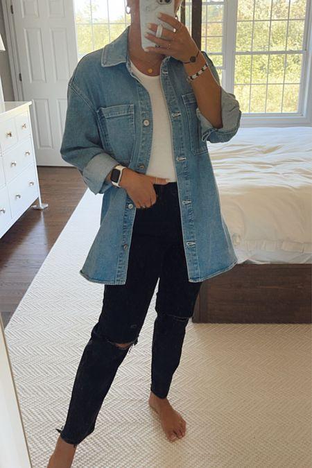 Abercrombie jeans with oversized shacket and bodysuit   #LTKunder100 #LTKSale #LTKunder50