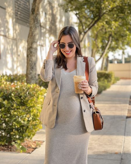 My favorite ribbed dress and plaid blazer, all under $40! Dress is maternity friendly. Also loving this crossbody brown bag and round sunglasses  Fall outfit / maternity outfit / fall style  #LTKSeasonal #LTKunder50 #LTKbump