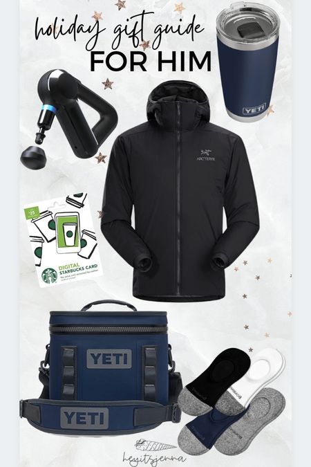 Gift ideas for him Gifts for your dad, husband, or brother! Theragun and yeti gift ideas Starbucks card Cooler for dudes   #LTKHoliday #LTKmens #LTKGiftGuide