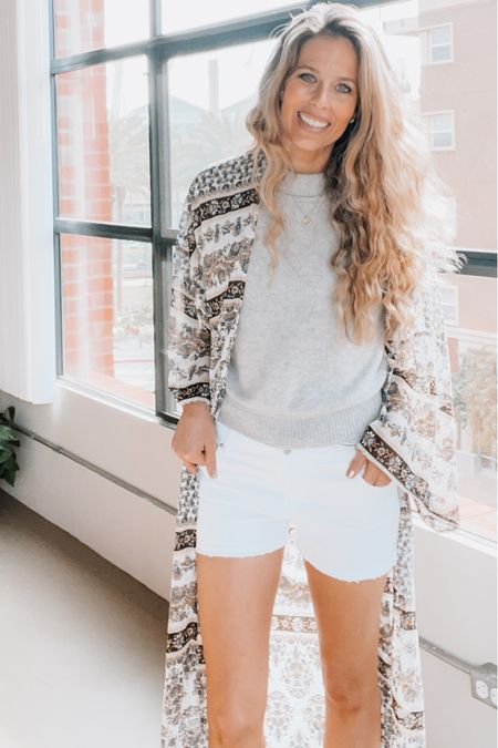 Beach vacation, vacation outfit, summer outfit, kimono, grey sweater, cashmere sweater, white shorts   #LTKtravel #LTKDay #LTKSeasonal
