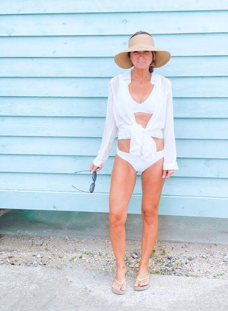 Beach / travel / white on white / bikini / reversible bikini / sun hat / shades   #LTKtravel #LTKunder100 #LTKswim