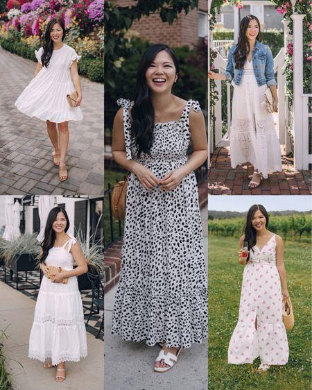 Amazon finds, Amazon fashion, white dresses, summer dress, white mini dress, white tie strap dress, white leopard dress, white maxi dress, white eyelet dress.  #LTKunder50 #LTKstyletip #LTKwedding