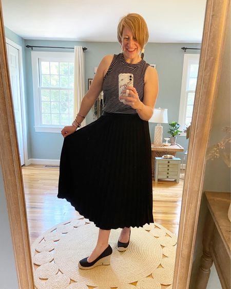 Stripes + pleats make Hump Day better! Old Navy top (older, linked similar) Target pleated skirt (older, linked similar) JCrew factory espadrilles TTS (linked)