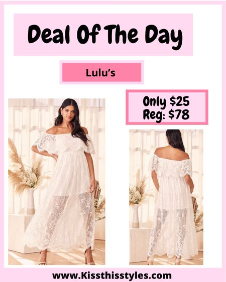 Deal or the Day! This lace maxi dress is so stunning! It is on sale today for only $25!!! It is perfect for bridal shower, baby shower, bachelorette party, resort dress, beach dress & anything in between! I love the lace & how it is an off the shoulder dress! A must have! I will list some of my other wedding guest dresses favorites below. #offshoulderdress #bridaldresses #weddingguestdress #lacedress #maxidress #mididress #maternitydress   #LTKwedding #LTKsalealert #LTKSale