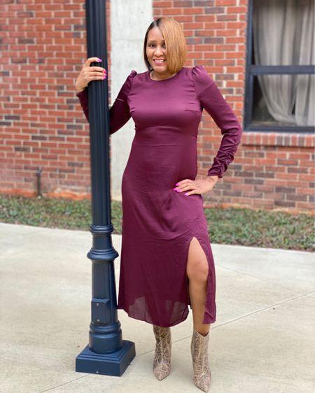 Midi Dress and Boots http://liketk.it/345Zh #liketkit @liketoknow.it