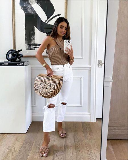 Chic summer outfit ideas Goodnight Macaroon camel bodysuit wearing an XS Take 40% off with code MARIA40  Braided sandals run TTS   #LTKsalealert #LTKunder50 #LTKunder100