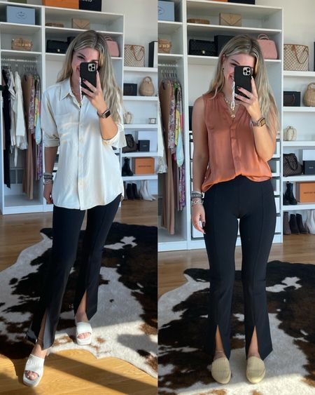 Workwear office outfit work outfit ideas work pants fall outfit Ideas  Fall workwear sweater tank  summer sandals   In my normal small  Size down to an XS in in pants     #LTKSeasonal #LTKworkwear #LTKunder100