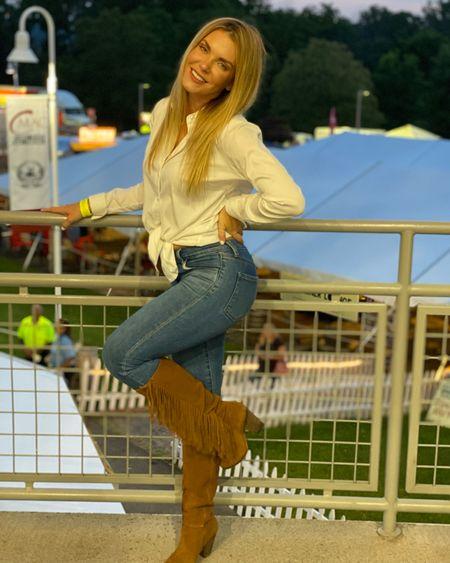 My boots were a random Marshall's find years ago. Linked similar. #fringe #fringeboots #suedeboots #countrystyle #countrymusic #countryconcert   #LTKshoecrush #LTKsalealert #LTKSeasonal
