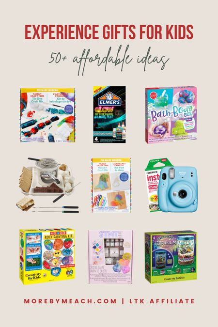 Christmas Gift Guide - Experience Gifts for Kids! Get 50+ ideas on my blog, morebymeach.com! || crafts for kids, activities for kids, games for kids, s'mores maker, s'mores machine, instant camera, instax camera, art set for kids, kids games   #LTKGiftGuide #LTKHoliday #LTKfamily