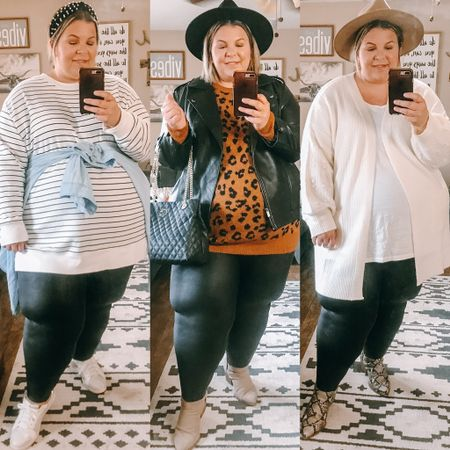 If you don't have plus size Spanx faux leather leggings, the #nsale is the perfect time to grab a pair! Wearing the 3X here.   #LTKsalealert #LTKunder100 #LTKcurves
