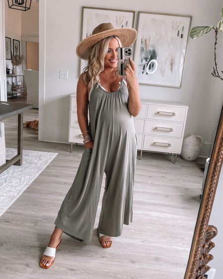 Wearing small in jumpsuit // small in bralette, sandals true to size (both 25% off today only with PINKLILYDAY) // maternity // postpartum // summer outfit // http://liketk.it/3i77i @liketoknow.it #liketkit #LTKbump #LTKunder50 #LTKstyletip