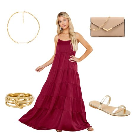 Red wine maxi dress and gold accessories ❤️  http://liketk.it/3hJGL @liketoknow.it #liketkit #LTKsalealert #LTKstyletip #LTKitbag