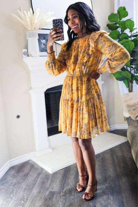 Obsessed with this dress! I linked some affordable sandal options too!   Fall dresses, wedding guest dress, fall outfits, church, family photos   #LTKHoliday #LTKSeasonal