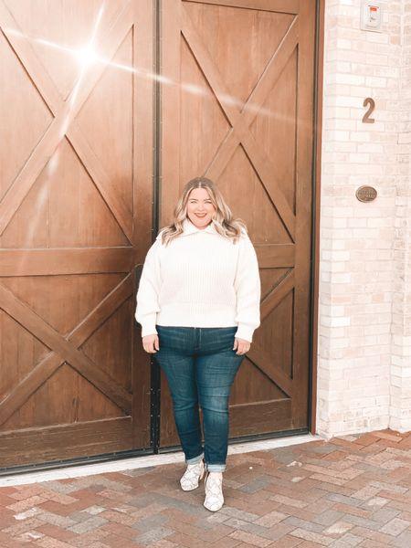 Cozy comfort in this winter white sweater    #LTKstyletip #LTKunder50 #LTKcurves