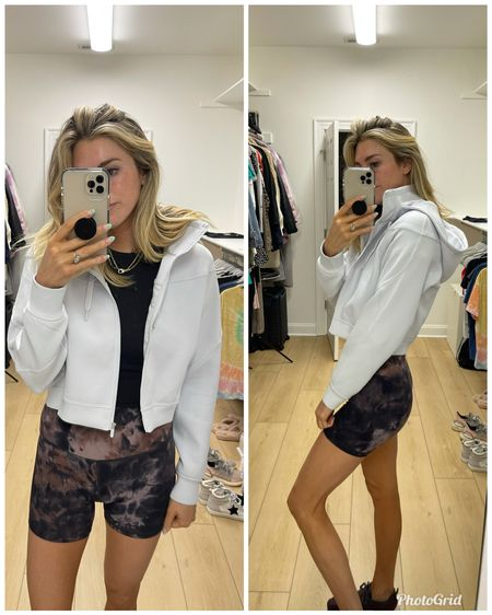 """Wearing a size 6 in everything. Shorts are 6"""" and jacket is alpine white color @liketoknow.it #liketkit http://liketk.it/3jh1U #LTKunder100 #LTKfit"""