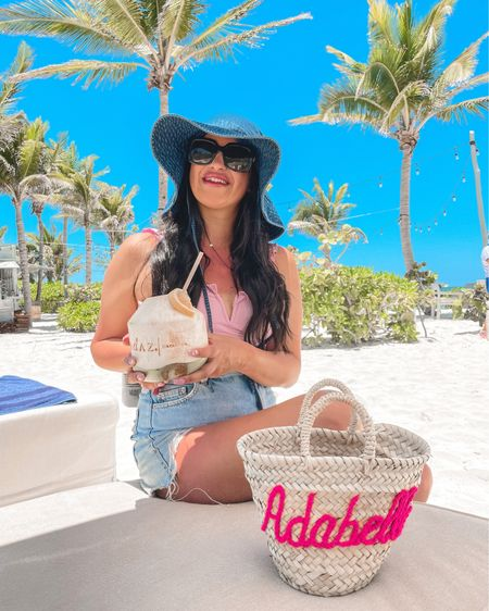 One piece ruffle swimsuit denim bucket hat free people personalized straw tote beach bag Gucci sunglasses @liketoknow.it #liketkit http://liketk.it/3gCC9 #LTKunder50 #LTKunder100 #LTKswim