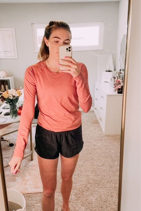 Lulu try on! This long sleeve is a good mauve fall color   #LTKfit #LTKbacktoschool #LTKunder100