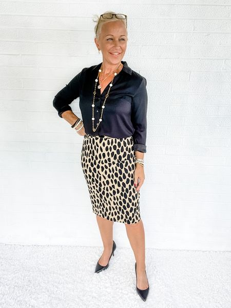 This leopard pencil skirt is ONE SALE for $69.99!!!  Street Look / Blazer Look / Work Blazer / Workwear / Work Wear / Office Look / Office Outfit / Business Casual / Office Casual / Work Outfit / Tory Burch / Kate Spade /  Coach Handbags / Handbag /petite / over 40 / over 50 / over 60 / Fall Outfit / Fall Fashion    #LTKsalealert #LTKSeasonal #LTKworkwear