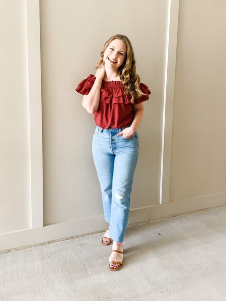 Ruffled bodysuit from Express. Wearing my true size XS. Could have sized up to S but this one fit. Levi Ribcage Jeans in a 26. New fall staple double band block heel sandals from Target!  #LTKshoecrush #LTKSeasonal #LTKstyletip