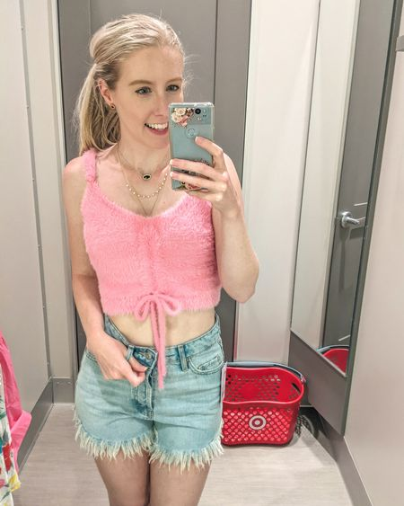 Target try-on. Pink fuzzy furry tank top with tie, high waist button up frayed bottom denim shorts. Shorts run large - size down. I usually wear 2-4 and could fit in a 0. http://liketk.it/3gMi1 @liketoknow.it #liketkit #LTKunder50 #LTKunder100