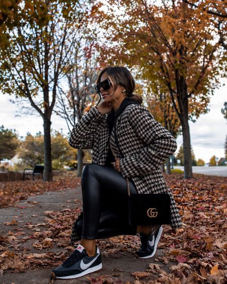Fall casual outfit ideas Nike sneakers on sale with code FW2021 at Ssense  Anine Bing houndstooth blazer wearing an XS on sale  Commando faux leather leggings wearing an XS