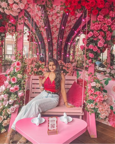 Carousel of my dreams 🌸🌺 This rooftop is a must see, if you love all things pink & rose!  Wearing my super chic open back satin crop top (under $10)  . . Shop the look  1️⃣ http://liketk.it/3jt3g  2️⃣ link in bio   #liketkit #LTKunder50 #LTKstyletip #LTKsalealert @liketoknow.it