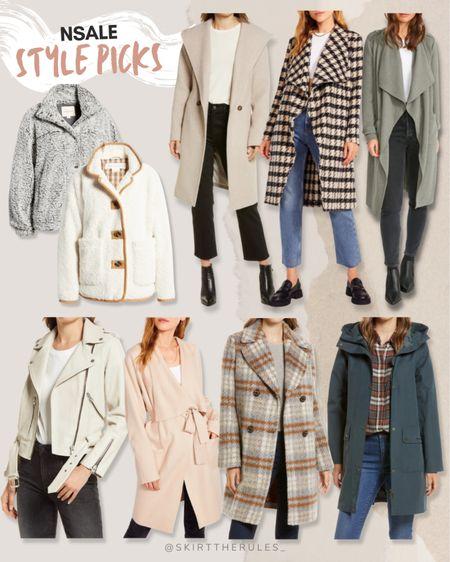 Nordstrom Anniversary Sale, NSale, Nordstrom sale: nubby gray jacket, cream sherpa jacket, beige wrap coat, houndstooth coat, sage green jacket, cream leather moto jacket, pink wrap coat, plaid coat, Barbour jacket. @liketoknow.it http://liketk.it/3jP1F #liketkit #LTKunder100 #LTKstyletip #LTKsalealert