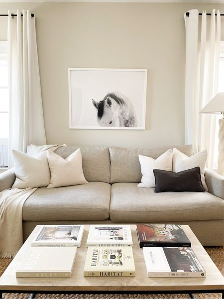 Neutral simplicity in my living room, with organic colors, my favorite sofa ever, and plenty of books for design inspo!  #LTKhome