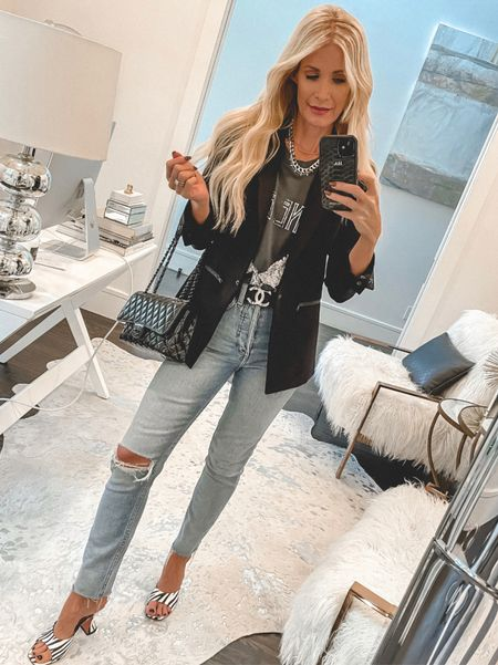 Always up for a chic graphic tee and a classic blazer. This blazer runs tts, I'm wearing a size 0.   Follow my shop @soheatherblog on the @shop.LTK app to shop this post and get my exclusive app-only content!  #liketkit  @shop.ltk http://liketk.it/3pGHp  #LTKSeasonal #LTKunder100 #LTKstyletip