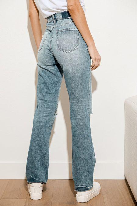 Light Wash Distressed Denim High Rise Dad Jeans, dad jeans, high waisted jeans   #LTKsalealert #LTKunder100 #LTKSale