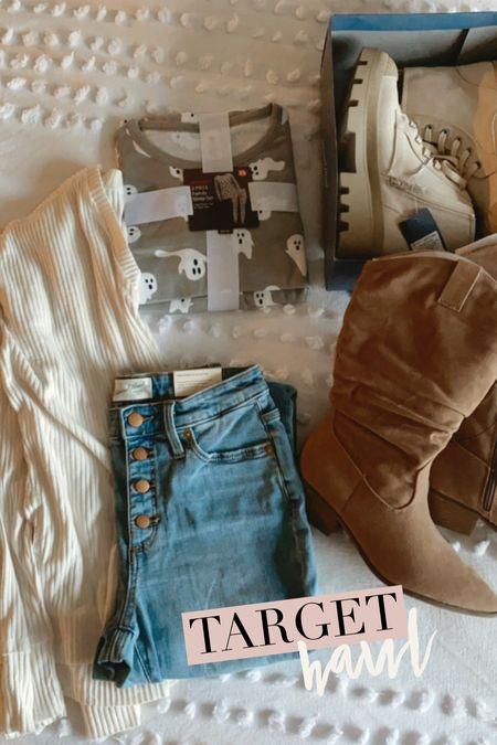 Target haul! Western boots. Sneaker boots. Skinny jeans. Ghost pajamas. Halloween pajamas. Oversized white shirt.  #target #targetfashion #targethaul #targetboots #sneakerboots #targetjeans #wildfable #halloweenpajamas    #LTKSeasonal #LTKunder50 #LTKstyletip