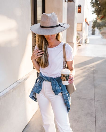 Jean Jacket, Denim Jacket, White TShirt, White Jeans, Fall Outfits  This white tee is under $15 (fits TTS). Exact felt hat sold out, similar wool hat linked. YSL tote is my everyday work tote and fits my laptop, notebooks, and essentials.  #womensfalloutfits #falloutfitswomen #fallhat #casualfalloutfit #whitecrewneck #neutraloutfit #affordablefalloutfits