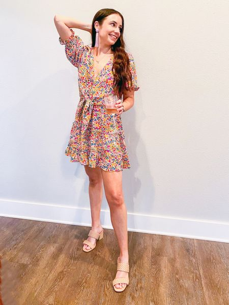 Shop your screenshot of this pic with the LIKEtoKNOW.it shopping app http://liketk.it/3ejrk @liketoknow.it #liketkit #LTKshoecrush date night look, show me your Mumu, tie top, floral skirt, braided sandals, braided heels
