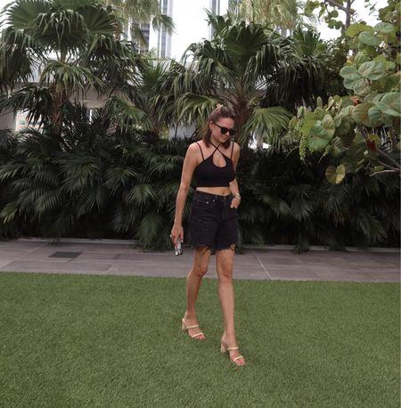 Rebecca Piersol Style. Revolve crop top. Levi 501 mid thigh black denim shorts. Superdown crop top. Gorjana jewelry. #ltkseasonal #ltkunder100 #competition   #LTKstyletip #LTKunder50 #LTKtravel