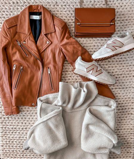 Leather jacket, fall outfit, New Balance sneakers, fleece top, fall fashion   #LTKstyletip #LTKunder100 #LTKshoecrush