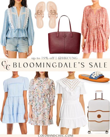 Summer sales at Bloomingdale's with floral dresses, white dresses, blouses, feminine blouses, Tory Burch miller sandals, Tory Burch tote bags, luggage and more.   #LTKstyletip #LTKsalealert