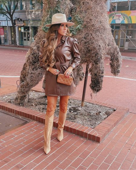 Emily Ann gemma, rodeo outfit ideas, what to wear to the rodeo, faux leather dress, Saint Laurent handbag, tan boots, best boots fall 2021, brown leather dress, BB Dakota dress, fall dresses 2021, fall dress ideas  #LTKstyletip #LTKunder100
