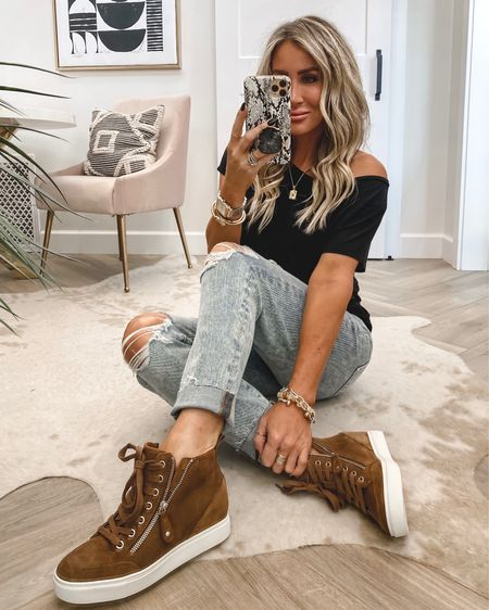 Wedge sneakers 39% off run tts 3 colors …reg $89 sale $53 Jeans sz 4 $49 when you sign in as a member tee sz small Save 15% on initial necklace code KIM15  Small necklace is 2 for 30 Fav hair products on sale  Self tanning drops for body on sale..used today Ootd    #LTKshoecrush #LTKsalealert #LTKstyletip