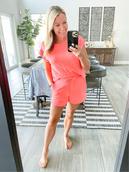 In love with the super soft blend muscle tank and matching shorts. Wearing a size small in both. Both are currently 50% off and come in a whole bunch of colors. Loft sale summer sale matching set  #LTKstyletip #LTKunder50 #LTKsalealert