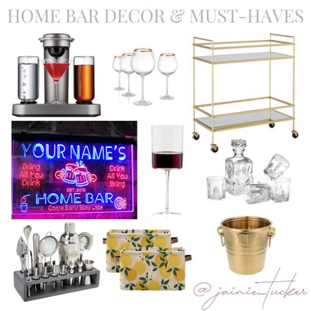 Home bar decor and must-haves. The perfect time to revamp or refresh the space with the holidays coming up! | #homedecor #seasonaldecor #homebardecor #homebarmusthaves  #LTKGiftGuide #LTKhome