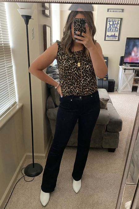 So many compliments on this office look! Summer work outfit. Business casual. White booties. #LTKworkwear #LTKshoecrush #LTKunder50 High waist jeans. http://liketk.it/3jGIg #liketkit @liketoknow.it