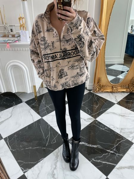 Emily Gemma, Fall Outfit, Chanel Boots, Tory Burch Boots, Black Boots, Dior dupe sweatshirt, Jadore Dior, Toile Sweatshirt, Cute sweatshirt, Black Leggings, Fall Fasion, Designer Fashion http://liketk.it/3nsfq
