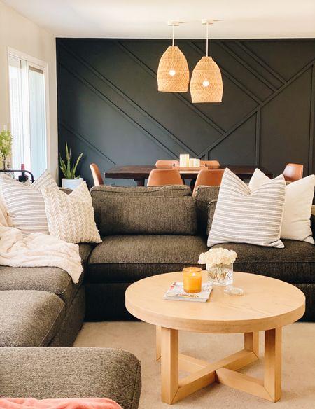 Cozy living room and dining room    #throwpillow #coffeetable #pendantlight #homedecor #leatherchair  #LTKunder100 #LTKstyletip #LTKhome