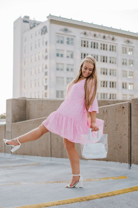 White heeled sandals White and clear Summer bag   #LTKstyletip #LTKshoecrush #LTKunder50