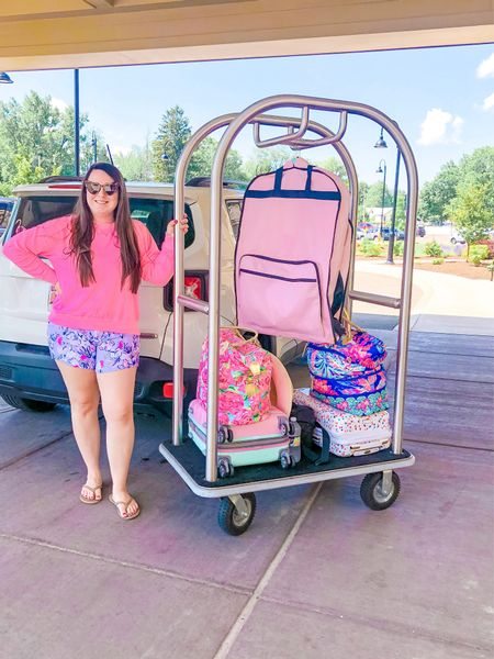 The most Comfy & cute travel outfit! I love these flattering & stretchy shorts! A bit of a splurge, but totally worth it. Linking a classic pink sweatshirt that goes with everything, as well as my pink garnet bag that I LOVE! Perfect for road trips or air travel!   #LTKcurves #LTKtravel #LTKfamily