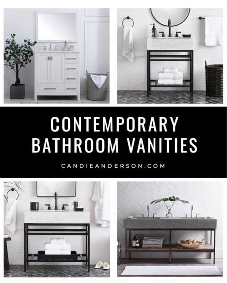 Best contemporary bathroom vanities. White bathroom vanity. Marble bathroom vanity. Concrete top bathroom vanity. Single sink vanity. Double sink vanity. ❤️   #LTKhome
